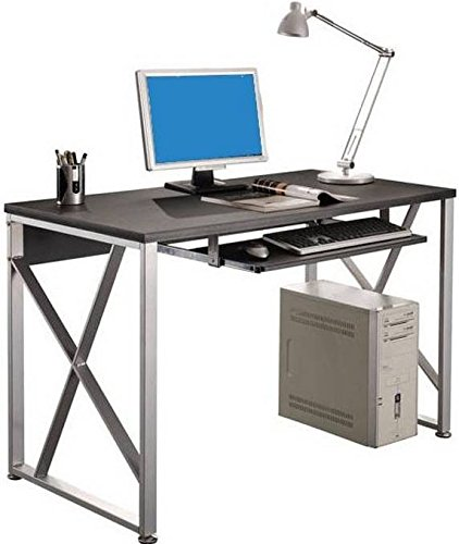 Techly Scrivania per PC con Cassetto Estraibile, Nero Grafite (ICA-TB 349)