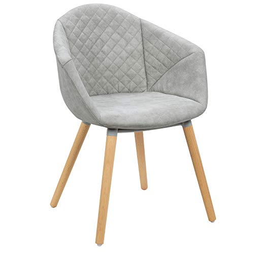 WOLTU BH89hgr-1 1 x Esszimmerstuhl Design Stuhl Küchenstuhl Wohnzimmerstuhl Polsterstuhl Leinen Antiklederoptik Holz Hellgrau