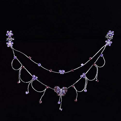 Cadena de frente de niñas cejas de niños cadena de princesa rhinestones de aleación borlas esmalte decorado placa antigua, 51 cadena de mariposa de flor rosa