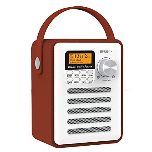 Saicowordist DAB Radio FM con mango, receptor de audio digital Bluetooth inalámbrico portátil, funciona con batería, reproductor de MP3 U disco y tarjeta TF