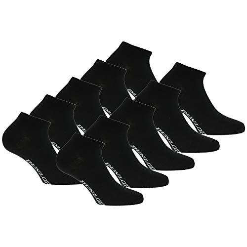 DUNLOP 10 pares de calcetines de tobillo unisex Fantasmino Suave zapatilla de algodón Color Blanco disponible en varios tamaños y colores (Noir, 4145)