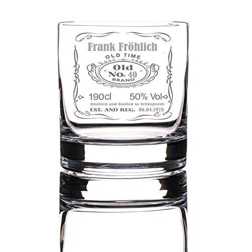 Whiskyglas mit Gravur | Old No | Name, Alter, Datum, Ort das Geschenk für Männer und Whiskyliebhaber