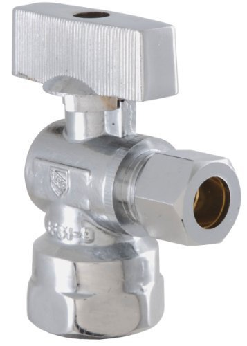 LDR 537 6110 Low Lead Shut Off Street Valve 1/2-Inch-3/8-Inch FIP x 3/8-Inch COMP, Chrome by LDR Industries