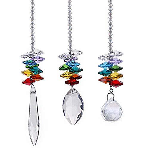 HampD Chandelier Crystals Prisms Rainbow Octagon Chakra Suncatcher Set of 3