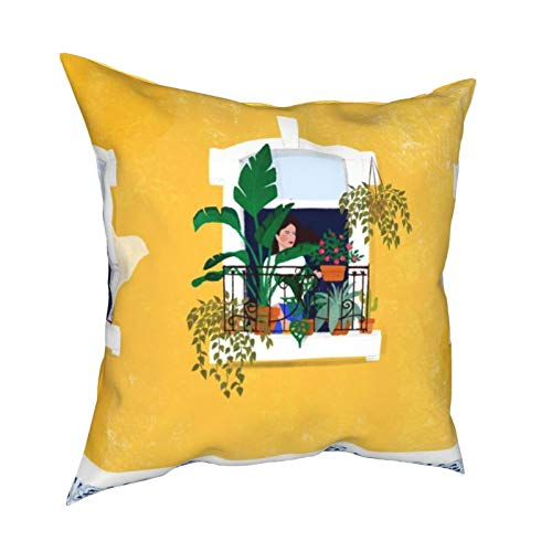 Feamo Funda de cojín cuadrada Lisboa Girl Funda de almohada decorativa para el hogar, sala de estar, dormitorio, sofá silla, 45,7 x 45,7 cm