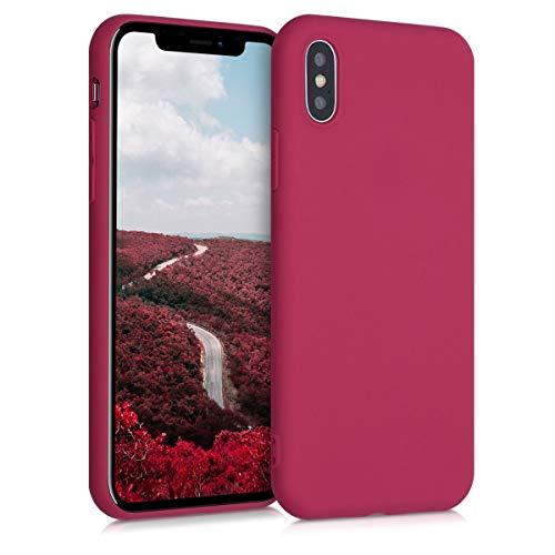 kwmobile Cover Compatibile con Apple iPhone X - Custodia in Silicone TPU - Backcover Protezione Posteriore- Rosso Melograno