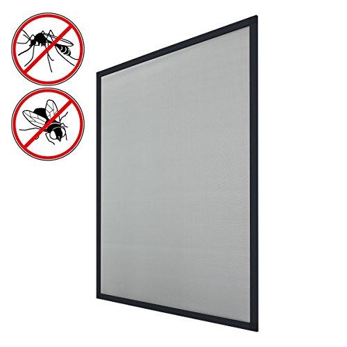 ECD Germany 1er Pack Fliegengitter mit Rahmen aus Aluminium - 120x140 cm - Anthrazit - wetterfestes Moskitonetz aus Fiberglasgewebe für Fenster - Insektenschutz Fliegenschutz Mückengitter Mückenschutz