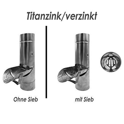Regenrohrklappe OHNE Sieb Titanzink in den Größen 60, 76, 80, 87 und 100 mm (100 mm)