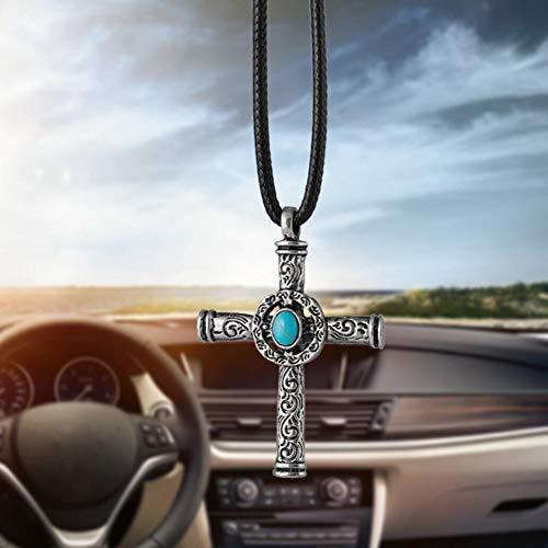 DBDCH Autohanger, blauwe stone cross hangende ornamenten, achteruitkijkspiegel, versiering, auto styling geschenken