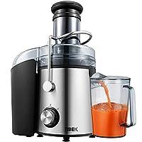 centrifuga frutta e verdura,tibek estrattore di succo freddo con 75mm bocca larga, motore potente da 800 w, piedi anti-scivolosi e facile pulizia, centrifuga di acciaio inox con 2 velocità, senza bpa