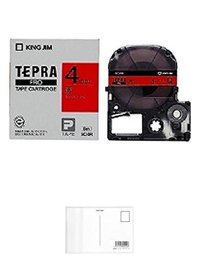 キングジム テープカートリッジ テプラPRO SC4R 4mm 赤 【× 2 個 】 + 画材屋ドットコム ポストカードA
