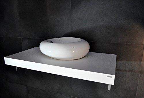 Carl Svensson Edler Waschtisch Waschtischplatte Waschkonsole Eiche Handtuchhalter WT-60 + WT-60H (WT-60H Weiß mit Handtuchhalterung)