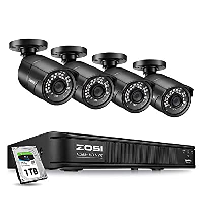 ZOSI H.265+ 5MP PoE Home Security Camera System Outdoor Indoor, 8CH Ultra HD NVR, 4X 5MP Weatherproof PoE IP Cameras, 120ft Night Vision, 1TB HDD for 24/7 Recording, Remote Control, Motion Detection