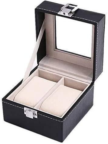 THj 2 Caja de Reloj Compartimiento Ventana Caja de Reloj Caja de Almacenamiento de joyería de Cuero Negro PU Reloj clásico