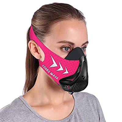 FDBRO Workout Mask Sports Mask Fitness for Women,Running, Resistance,Cardio,Endurance Mask for Fitness Training Sport Training Mask 3.0 with Carry Box (Black Pink, Medium)