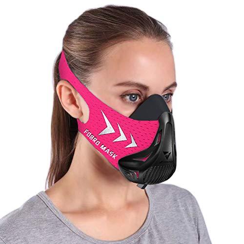 FDBRO Workout Mask Sports Mask Fitness for Women,Running, Resistance,Cardio,Endurance Mask for Fitness Training Sport Training Mask 3.0 with Carry Box (Black Pink, Medium)