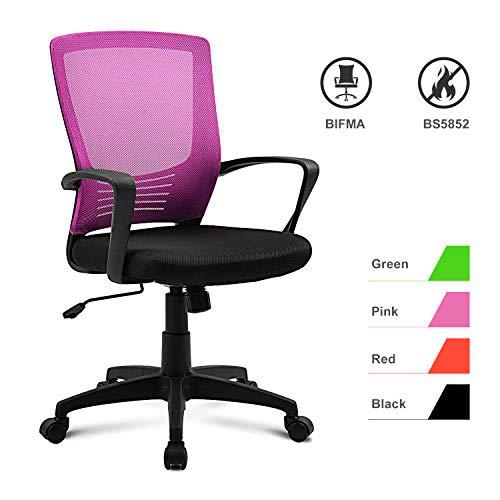 DuraB Bürostuhl Höhenverstellung, Ergonomisch Schreibtischstuhl Computer Stuhl drehstuhl mit Netz Design-Sitzkissen, Rückenschonend, Bürostuhl bis 120kg Belastbar (Pink)