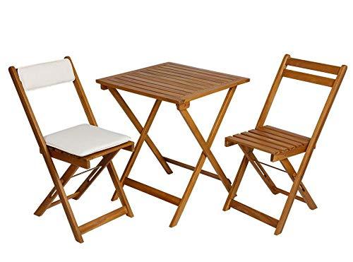 Spetebo Holz Sitzgruppe aus Akazie mit Stuhl Kissen - 2X Klappstuhl + Klapptisch - Holz Balkon Möbel Set Bistrotisch Bistrostuhl
