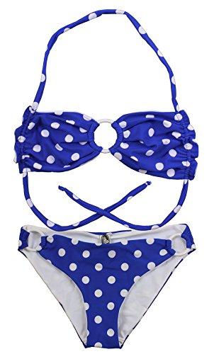 Aloha-Beachwear Damen Bandeau Neckholder Bikini Polka Dots gepunktet Anker A9009 (L / 40 / UK 14, Blau/Weiss)