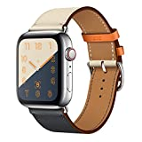 CRLIN Compatible with/Replacement for Apple Watch Band 44mm 40mm 42mm 38mm Series 4/3 /2/1 Single Tour Replace for iWatch Strap Leather Bands (Indigo/Craie/Orange, 38/40)