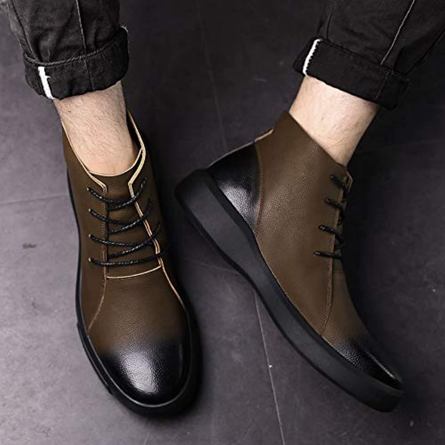 LOVDRAM Boots Men's Leather shoes Men'S Autumn And Winter Thick Men'S Casual shoes Men'S Leather Lace Men'S shoes Driving shoes Men'S Cotton shoes Business
