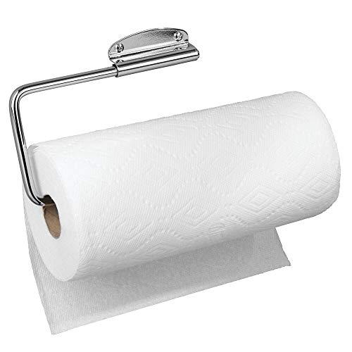 mDesign Portarrollos de cocina – Práctico y compacto soporte para papel de cocina, trapos y toallas – Portarrollos de pared o armarios de fácil montaje – plateado