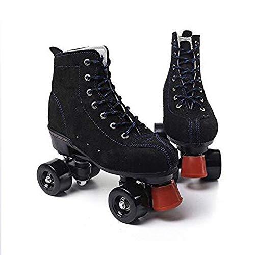 Classic Quad Skates Women Men Premium Leather Lined Rink Roller Skate, Black,43