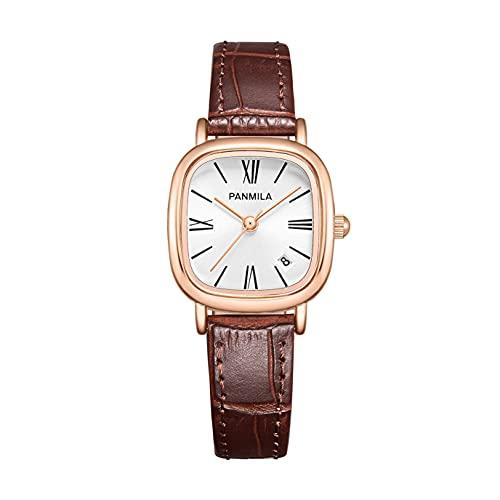GXWBH Reloj De Cuero para Mujer Reloj Cuadrado Pequeño Retro con Lector Fácil para Lady/Chicas Vestido Casual Analógico De Cuarzo Reloj De Pulsera Impermeable Negro(Color:B)