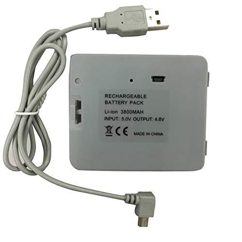 MXECO 3800mA batería Recargable USB con Cable de Cargador para Nintend Balance Board Game Charger Adapter Battery Pack (Gris)