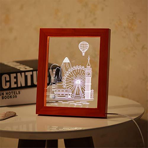 Preisvergleich Produktbild WUJIAN Bilderrahmen Aufschlussreiche LED-Nachtlicht-Desktop Dekorative USB-Lampe for Schlafzimmer-Kunst-Dekor 3D-Holz-Riesenrad-Foto-Rahmen für Bilder Collagen