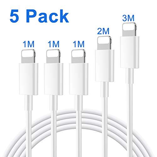 Everdigi Phone Ladekabel Datenkabel [5 Pack-3 * 1m+1 * 2m+1 * 3m] für iPhone schnell Ladekabel für iPhone XS XS Max XR X 8 8 Plus 7 7 Plus 6s 6s Plus 6 6 Plus SE 5s 5c 5 iPad,Weiß