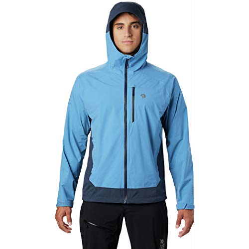 Mountain Hardwear Men's Stretch Ozonic Jacket Waterproof Breathable for Hiking, Backpacking, and Everyday - Deep Lake - X-Large
