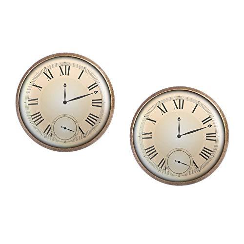Studs par con motivo Dial reloj de bolsillo falso de imitación bronce 16mm