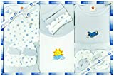 100 Percent Pure cotton Perfect Gift for Newborn Baby Gift Pack Contents: 1 Bodysuit , 1 T-Shirt, 1 Long Pants, 1 Bib, A Pair Of Booties, 1 Coordinating Cap, 4 Wash Cloth, Shorts, Mittens, And Towel. Perfect Gift Packaging for Baby Shower blessing. I...