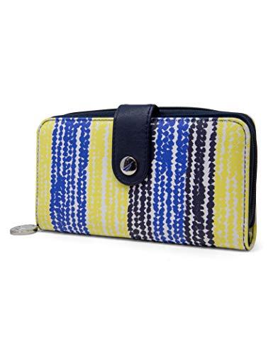 Nautica Be Shore Womens Wallet RFID Blocking Zip Around Clutch (Dotted Stripes)