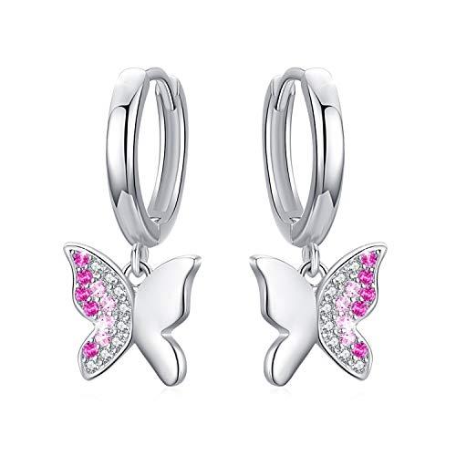Pendientes Mariposa, Pendientes de aro de plata de ley 925 con Zircon Mariposa para Mujeres...