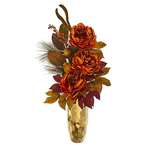 Nearly Natural 30in. Peony, Pear and Magnolia Leaf Artificial Gold Vase Silk Arrangements, Orange