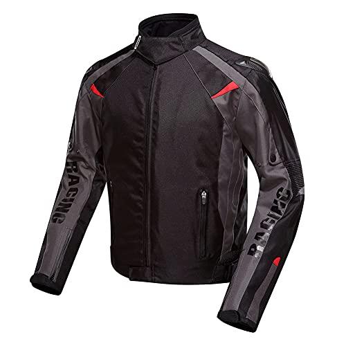ZDSKSH Chaqueta De Moto para Hombre Chaqueta De Moto Impermeable con Armadura Protectora, Forro Cálido Extraíble para Todas Las Estaciones