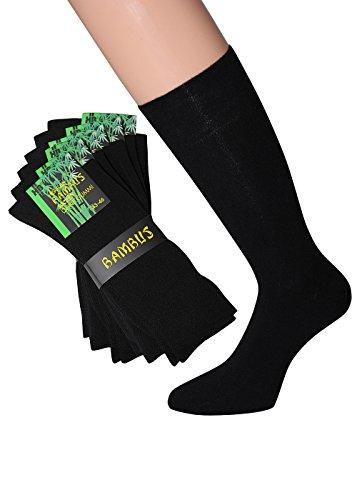 Herren Bambus Socken ohne Gummi schwarz Bambussocken schwarz Herren Gr. 43-46, 6 Paar