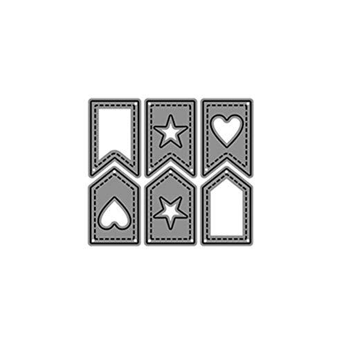Luo-401XX Troqueles De Corte DIY, Star Heart Tag Banner Scrapbooking Álbum Tarjeta De Papel DIY Metal Plantillas Plata