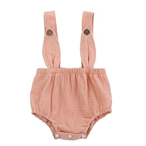 Fossen Ropa Bebe Niña Verano, Tirantes para niñas Recién Nacido bebés niños niñas sólido Conejito Oreja botón Mameluco Mono Ropa