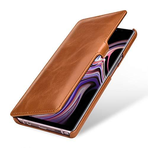 StilGut Book Type Lederhülle für Samsung Galaxy Note 9. Seitlich klappbares Flip-Hülle aus Echtleder, Cognac mit Clip