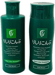 Rishiri Color Shampoo Dark Brown 6.7fl oz and Hair Color Treatment Dark Brown) 6.7fl oz set