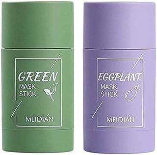 2 stuks groene thee-purifying Clay Stick masker oliecontrole gezichtsmasker, stick diep reinigend anti-acne-masker fijn so...