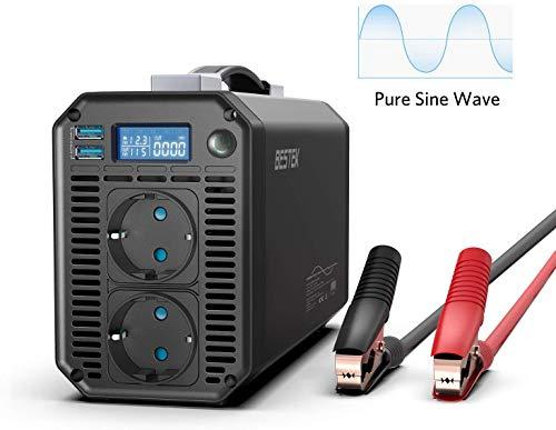 BESTEK Inversor de Corriente 12v a 220v 1000w Onda Pura, Transformador 12V a 220V para Coche con 2 Enchufes AC 2 Puertos USB(Pinzas de Cocodrilo, 4 Fusibles, Pantalla LCD)