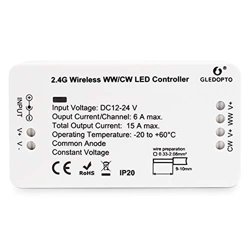 LIGHTEU®, Zigbee CCT WW/CW controller doppio LED a striscia bianca 12V-24V compatibile con Hub Zigbee Amazon Echo Plus Alexa e Lightfy Hun per APP/Voice control (Hub richiesto)