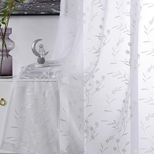 """Embroidery Sheer Curtains White 95 Inches, Floral Pattern Window Treatments Rod Pocket Drapes for Living Room, Bedroom, Semi Voile Curtain Panels for Yard, Patio, Villa, Parlor, Set of 2, 52""""x 95""""."""