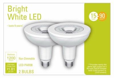 G E LIGHTING 32604 LED Outdoor Flood Light Bulb, Par 38, 15-Watts, 2-Pk. - Quantity 2