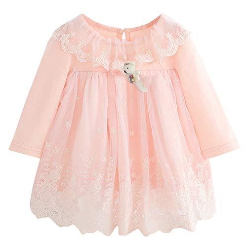 K-youth Vestido Bebé Niña Bautizo, Ropa de Bebe Niña Recien Nacido Otoño Invierno Tutú Vestido de Princesa Fashion Boda Ropa para Niña para Fiestas En Oferta(Rosa, 3-6 Meses)