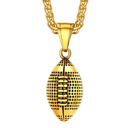 PROSTEEL Kette für Männer Jungen 18k vergoldet 3D Amerikanischer Fußball Rugby Anhänger Halskette 55+5cm Weizenkette sportlich Collier Modeschmuck Accessoire